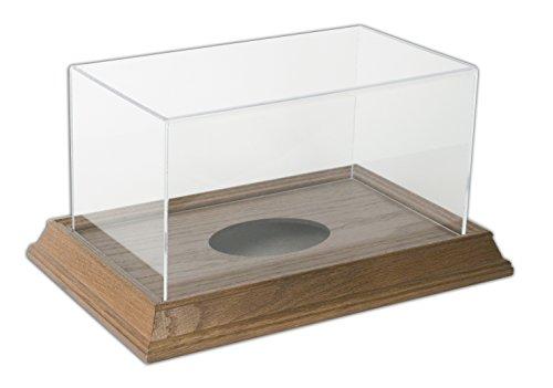 Football Display Case with Wood Base - Walnut (Oak Base Football Display Case)