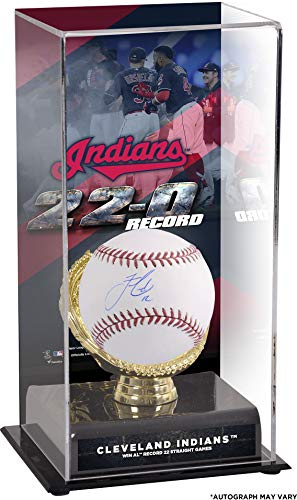 Indians Baseball Cleveland Display (Francisco Lindor Cleveland Indians Autographed Baseball and 2017 Record Winning Streak Sublimated Display Case with Image - Fanatics Authentic Certified)