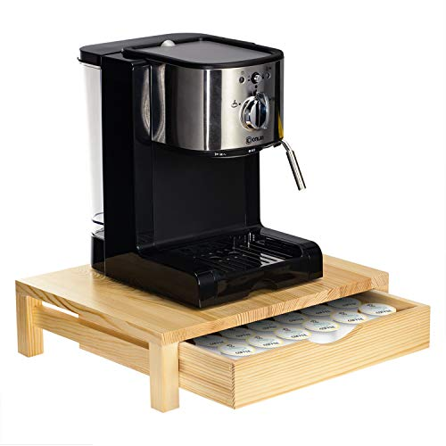 NEX Rustic Wood Coffee Pod Holder for K-Cup Pods - 36 Pods Capacity