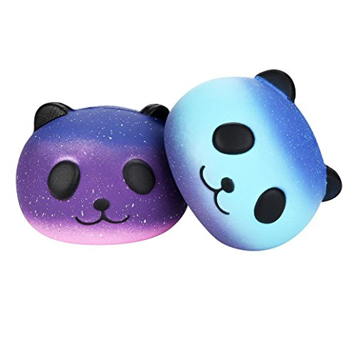 Stress Reliever, Woshishei Fun 2PCS Galaxy Panda Cute Scented Squishies Slow Rising Soft Squeeze Charms Toy (Presents 2017 Christmas For)