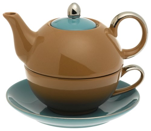 Siena Server - Yedi Houseware Classic Coffee and Tea Siena Tea For One with Saucer, Brown/Teal