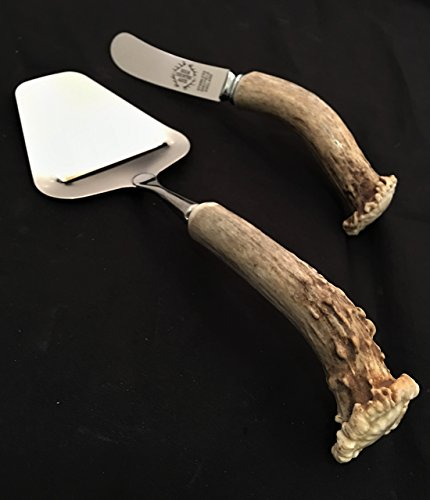 Lodge Flatware Set (2 Piece Cheese Serving Set with Naturally Shed Antler Handles)