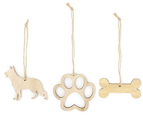 German Shepherd Christmas Ornament Dog Lover Gifts Wooden Christmas Ornaments 3-Piece Bundle