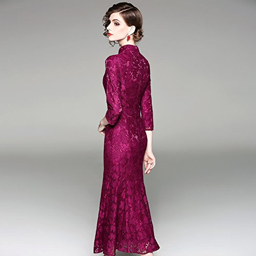 Maxi Mermaid Neck Slim for Embroidered Sleeve 3 4 Dresses Fit Dresses Collar Women Purple cotyledon 5aq74S4