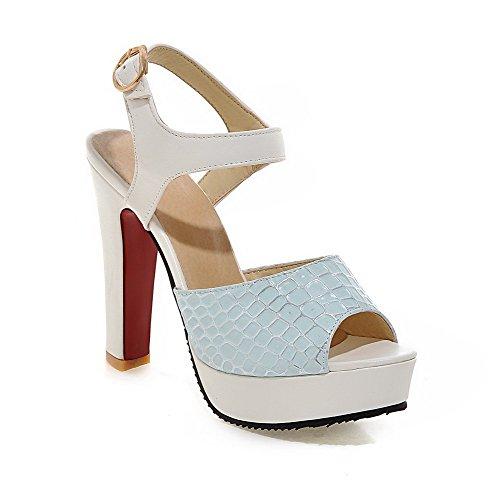 Heels weiches karierte High AllhqFashion Frauen Sandalen Spitze offene Schnalle blau Material 0xf6Cqwf