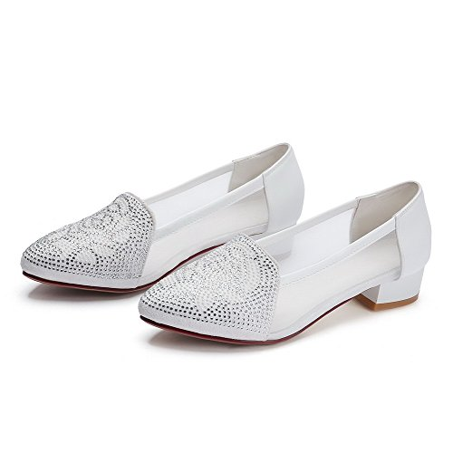 Amoonyfashion Femmes Matériaux De Mélange À Enfiler Pointu Bout Fermé Talons Bas Solides Pompes-chaussures Blanc