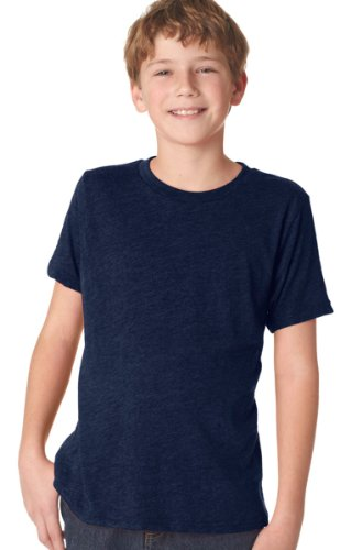 Next Level Big Boy's Tri-Blend Baby-Rib Jersey T-Shirt, Vintage Navy, (Tri Blend Rib)