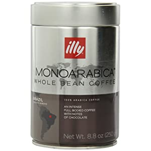 Illy Caffe Monoarabica Brazil Whole Bean Coffee Dark Brown, 8.8 Ounce