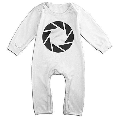 Price comparison product image PCY Newborn Babys Boy's & Girl's Portal 2 Video Game Logo Long Sleeve Jumpsuit Outfits For 6-24 Months White Size 18 Months