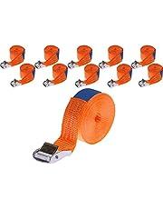 INDUSTRIE PLANET 10 x 250 kg daN 4 m professionele spanbanden met klemslot 25 mm spanriemen bevestigingsriemen DIN EN 12195-2