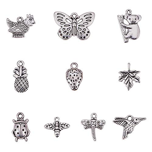 Animal Butterfly Necklace - PH PandaHall 80pcs 10 Style Antique Silver Tibetan Alloy Animal Plant Fruit Charms Pendants for DIY Bracelet Necklace Jewelry Making(Koala, Dragonfly, Butterfly, Bees, Maple Leaf, Strawberry)