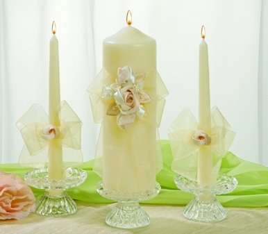 Ivy Lane Design Presents Beverly Clark Collection Amour Pillar Unity Candle, White