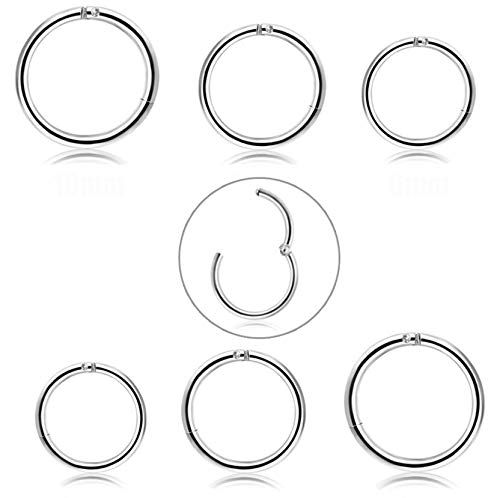 FIBO STEEL 6 Pcs 6-10mm Stainless Steel 18g Cartilage Hoop Earrings for Men Women Nose Ring Helix Septum Couch Daith Lip Tragus Piercing Jewelry Set Silver-Tone (B2:6 Pcs Silver-Tone (18G)) ()