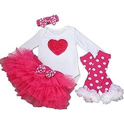 Perfekt AISHIONY 4PCS Baby Girl 1st Valentine Onesie Tutu Dress Newborn Party Outfit  XL