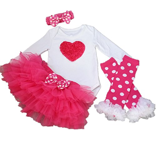 (AISHIONY 4PCS Baby Girl 1st Valentine Onesie Tutu Dress Newborn Party Outfit)
