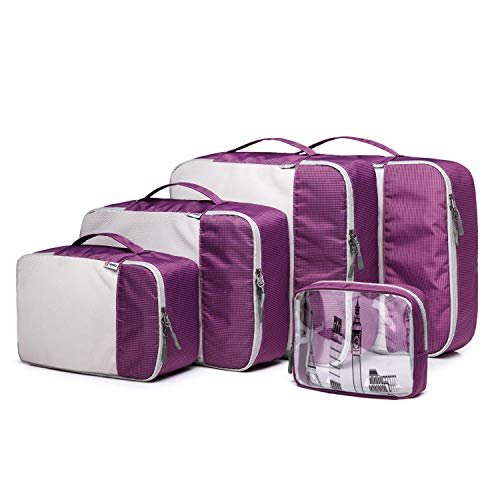 Q-smile 5 Set Packing Cubes Travel Luggage Organizers 4 Various Sizes Travel Storage Bag with 1 Toiletry Bag (Purple)