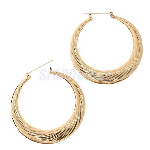 1 Pair Gold Metal Big Hoop Doorknock Hip Hop 80's Old School Earrings by sfcdirect