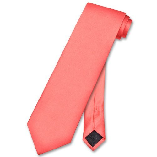 Vesuvio Napoli NeckTie Solid CORAL PINK Color Men's Neck Tie ()