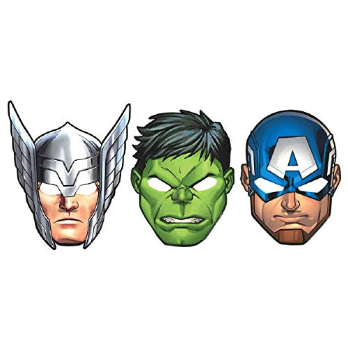 Amscan Marvel Avengers Hats/Masks, 8 Count, Party