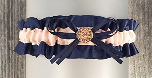 (SEXY Navy Blue Blush Satin Gold Crystal Embellished Wedding Keepsake Bridal)