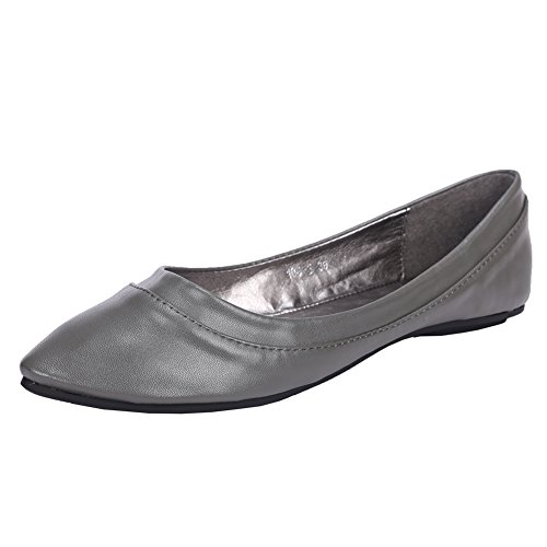 Women's Comfort Faux Leather Pointed Toe Flat Pump Ballet Shoes NO.260 Gray US Size (Ballet Leather Pumps)