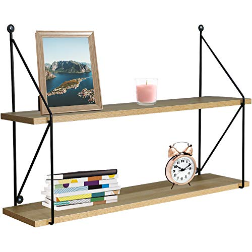 Sorbus Floating Shelf with Metal Brackets — Wall Mounted Rustic Wood Wall Storage, Decorative Hanging Display for Trophy, Photo Frames, Collectibles, and Much More (2-Tier – Maple)