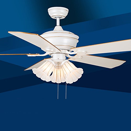 (AorakiLights Ceiling Fan Light Led Dining Living Room 5 Wooden Fan Blades Remote Control Vintage American Countryside Style 5 Flower shape Lampshades Chandelier For Library Kitchen Corridor 52 Inches )
