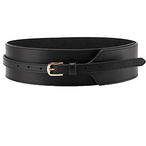 Cityelf Women's Genuine Leather Fashion Belt With Alloy Buckle PDW0071 black (Horsebit Buckle Belt)
