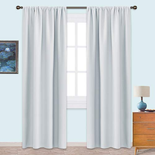 NICETOWN Kitchen Room Darkening Curtains - Window Treatment Thermal Insulated Rod Pocket Room Darkening Curtains/Drapes for Bedroom (2 Panels,42 by 84,Platinum - Greyish White) (Tv Sunroom In)