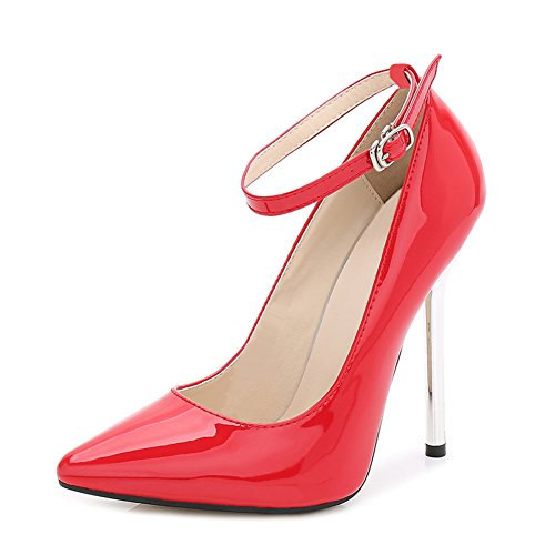 Ankle Heels Buckle Pumps Stiletto Toe Leather High Red fereshte Super Pointed Patent Women's Strap 1wzSTz