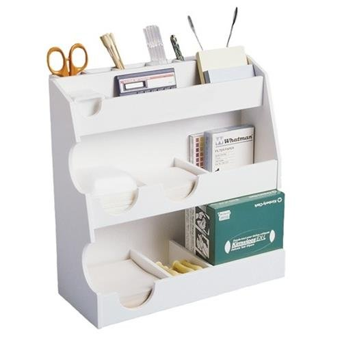 TrippNT 50077 White PVC Plastic Bench Top Workstation, 14 Compartments, Small, 12'' Width x 12'' Height x 5'' Depth