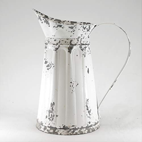 Silvercloud Trading Co. Distressed White Pitcher for Outdoor or Indoor Plants with Handle - 11