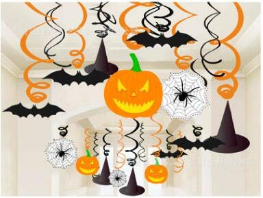 Halloween Decorations Home Bargains (LifeMadeSimple Cute Indoor Halloween Party Decorations for Kids-30 Piece Hanging Swirl Set for a Great Halloween Home Decor or Classroom Halloween)