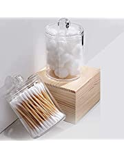 Qtip Holder Dispenser for Bathroom Vanity or Counter Tray, Clear Plastic Cotton Ball Swab and Round Pads Storage Organizer Jar