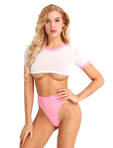 MSemis Women Girls Anime Cosplay Costume Japanese Schoolgirl Uniform Cheer Leader Sexy Lingerie Set Pink One Size
