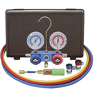 MASTERCOOL 89661-UV Aluminum Manifold Gauge Set and Mini Dye Injector with Manual (Uv Dye Injectors)