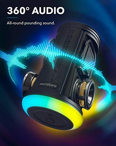Anker Soundcore Flare Mini Bluetooth Speaker, Portable Wireless Speaker, Waterproof for Outdoor Parties, LED Light Show with 360° Sound and Bassup Technology
