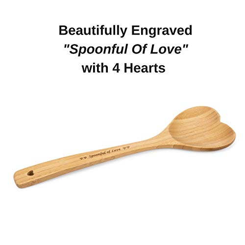Heart Shaped Bamboo Spoon - Engraved SPOONFUL OF LOVE Wooden Serving Mixing Spoon - Vintage Country Kitchen Wood Utensil - Unique Gift Idea by PRIZE HOME