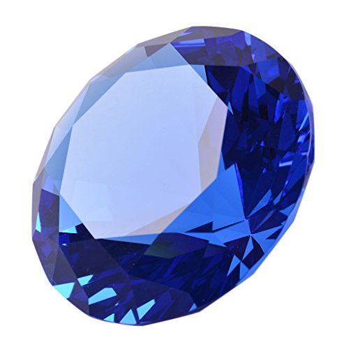 LONGWIN 60mm Diameter Crystal Faceted Diamond Paperweight Wedding Favor Christmas Ornaments Home Decor(Blue)