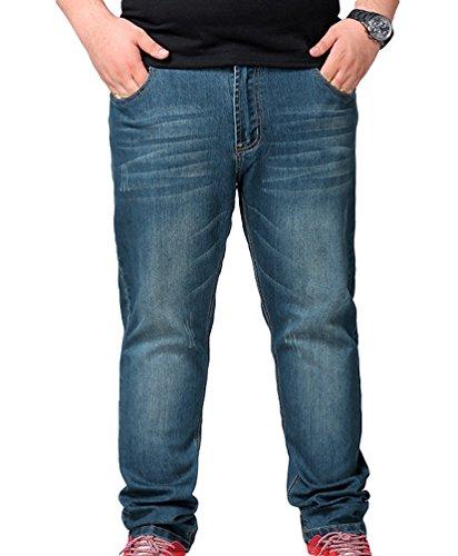 Vintage Lungo Retrò Pantaloni Blu Elastici Casual Uomo Denim Niseng Jeans fZqw5YF