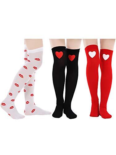 bc881f32fffce Blulu 3 Pairs Valentine's Day Socks Love Heart Knee Socks Red Lip Printed  Stockings for Valentine's