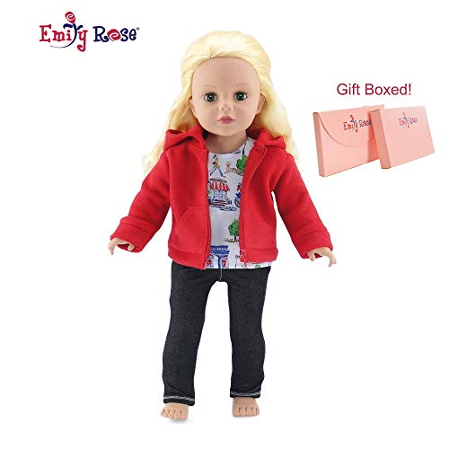 Emily Rose 18 Inch Doll Clothes | Hooded Fleece Jacket Coat Value Outfit with Pockets, Includes Black Stretch Skinny Jeans and Short Sleeved Paris Graphic T-Shirt | Fits American Girl 18 Dolls
