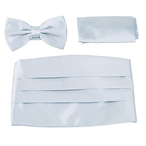 HDE Tuxedo Set Men's Formal Satin Blend Bow Tie, Cummerbund, and Pocket Square (Silver Cummerbund)