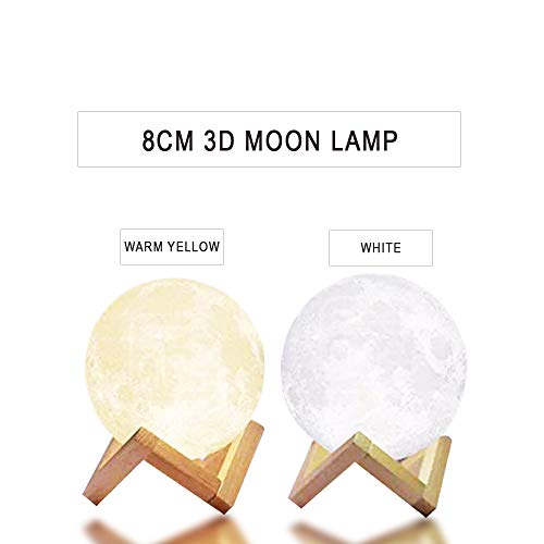 Cheap CoolKo Newest Night Light 8cm 3D Printed Lunar Moon Lamp, Rechargeable Home Decor Light, White & Warm Yellow Dimmable Touch Control Brightness [Bonus 2M Braided Android Cable & Wooden Stand]