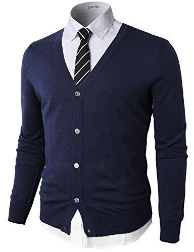 H2H Mens Casual Slim Fit Knitted Basic Designed V-Neck Long Sleeve Cardigan NAVY US 3XL/Asia 4XL (CMOCAL09) (Mens Dressy V Neck 3xl Sweater)