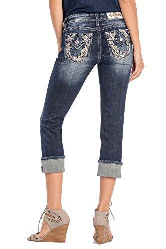 Miss Me Flap Pocket Jeans - Miss Me Come My Way Horseshoe Capri Jeans, Dark Wash, 26