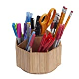 Bamboo Rotating Office & Art Supply Organizer Multiple Compartments, 9 Sections for Pens, Pencils, Highlighters, Markers, Scissors, Accessories & More