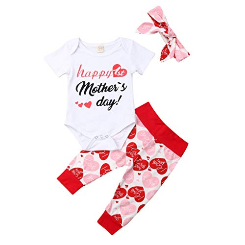 SMALLE Baby Girls Newborn Kids Letter Floral Romper Shorts Mother's Day Outfits 4Pcs (6-12M(3pcs), Red) ()