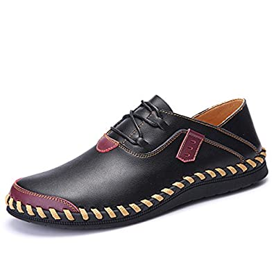 Men's Classic Casual Breathable Soft Leather Driving Loafer Red 41