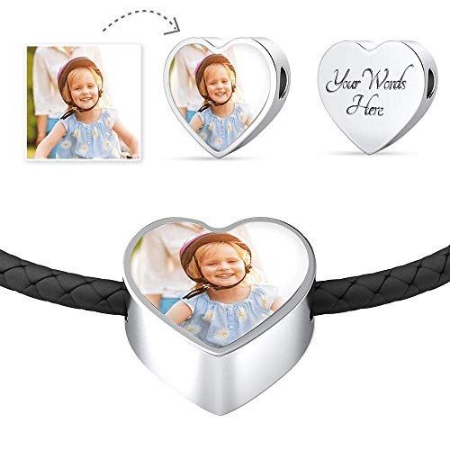 (Personalized Photo Heart Charms Customized Beads For European Pendant Fit Pandora Bracelet Leather)